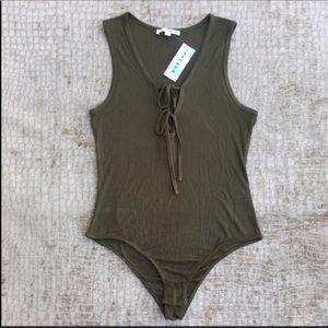 Ribbed Olive Bodysuit NWT